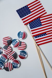 Flag and voting pins for election