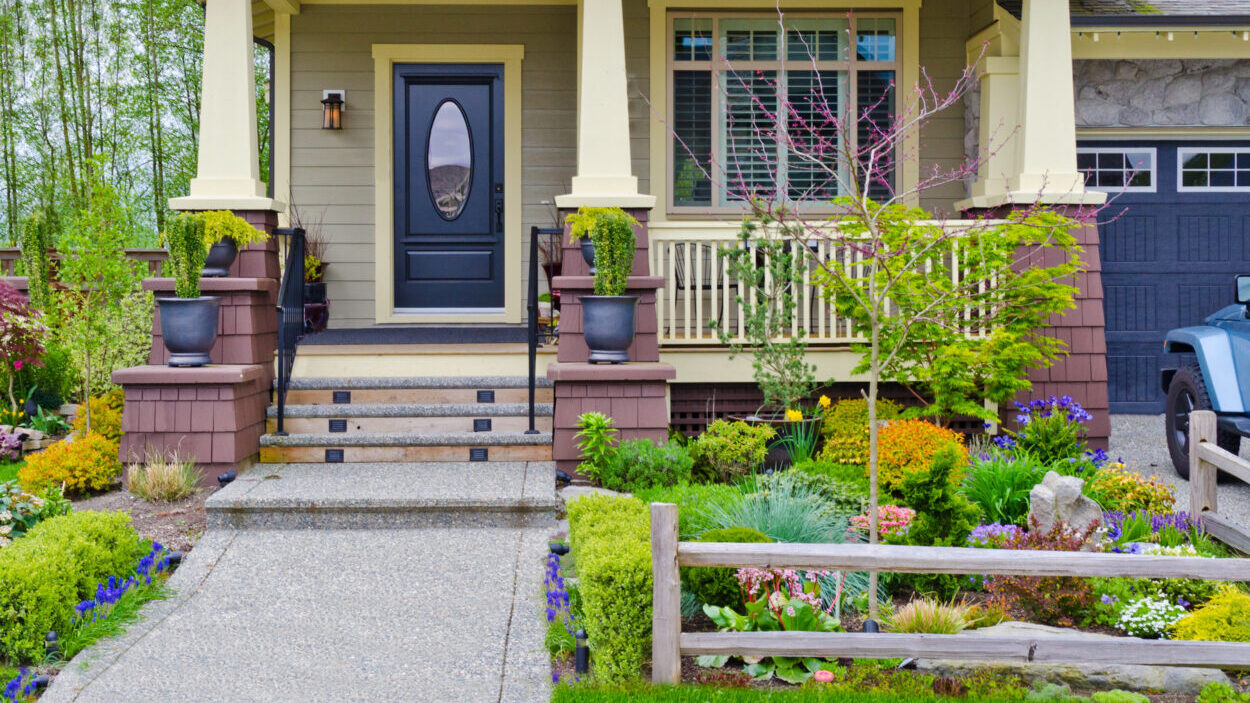 Detailed front yard landscaping